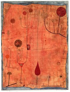 Paul Klee: Fruits on Red, 1930  Watercolor on silk.  61.2 x 46.2 cm.  Stadtische Galerie im Lenbachhaus, Munich, Germany