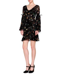 Bell-Sleeve V-Neck Floral-Print Dress, Black/Multi