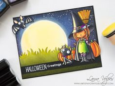 Halloween 2017 Card Making Series - Moonlit Scene feat MFT Witch Way is the Candy and Spectrum Noir markers