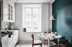 Calm blue-green tones in a Swedish home