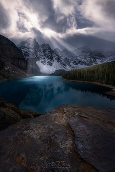 Serene glacial lake, Banff National Park, Canada