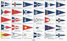 1950s YACHT CLUB FLAGS vintage print nautical decor sailing boating marina bedroom decor. $12.95, via Etsy.