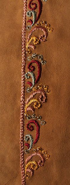 Resham embroidery on suede leather | by soulquest.lifestyle