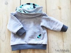 Lybstes Freebook: Baby-Kapuzenpullover, Hoodie mit Wickelkapuze, Schnittmuster, selber nähen Baby Hoodie, Baby Pullover, Diy Sweatshirt, Hooded Sweatshirts, Hoodies, Sewing For Kids, Baby Sewing, Hood Pattern, Pattern Sewing