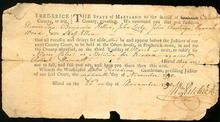 """Rare 1790 Slave Petition for Freedom FREDERICK County Maryland. November 22, 1790 Court summons 6 individuals to testify in the petition of freedom of """"negro Wilson"""" vs. Robert Hammod $1295"""