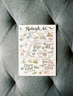 pretty custom illustrated map for wedding invitation suite | elegant pastel wedding with church ceremony and indoor reception