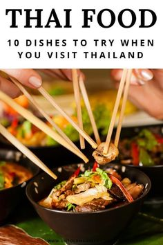 Thailand travel tips – best food and dishes to try on your trip to Thailand. Discovering Thai cuisines is one of the best things to do in Thailand. From street food to fragrant curries, Bangkok to Chiang Mai – Thai food is spicy and delicious - Sri Lanka Essen, Thai Recipes, Asian Recipes, Thailand Travel Tips, Food Thailand, Thailand Recipes, Thailand Destinations, Phuket Travel, Visit Thailand