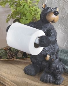 Standing Bear Toilet Paper Holder by Bear Sculpture Black Bear Decor, Toilet Paper Storage, Bear Theme, Wall Mounted Toilet, Cottage In The Woods, Cabin Bathrooms, Timber House, Gifts For Office, Towel Holder