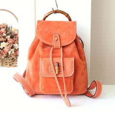 Gucci Backpack Bamboo Orange suede Leather Small Mini Italy Authentic Handbag by hfvin on Etsy #gucci #orange #suede #leather #bamboo #mini #backpack #hfvin