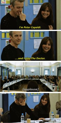 Peter's first read-through.<< Awww!!! I love him already!<< welcome to the Whoniverse Mister Capaldi<<awwww! He's so happy!!!