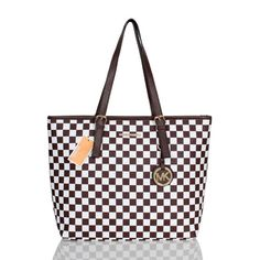Michael Kors Jet Set Checkerboard Saffiano Travel Medium Coffee Totes Outlet