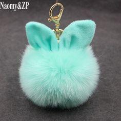 873757217c5f5 Naomy&ZP Car Fluffy Faux Rabbit Ear Fur Ball Key Chain Holder Pompom  Artificial Rabbit Fur Keychain Women Car HandBag Keyring-in Key Chains from  Jewelry ...