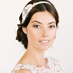 Clementine floral and crystal headpiece