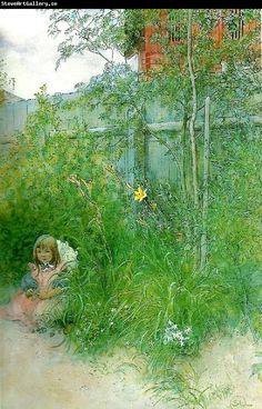 Swedish Museum:. Carl Larsson brita i blomrabatten Carl Larsson