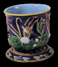 GEORGE JONES MAJOLICA Jardiniere and under plate with birds and bulrushes.