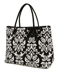 Belvah Quilted Damask Print Large Tote Bag -