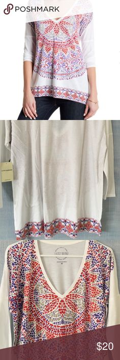 Lucky Brand Graphic Tee Lucky Brand Graphic Tee Shirt. Brand new with tags. 3/4 quarter sleeves. Size medium. Fun and colorful graphic print. V neck front. 48% Supima Cotton and 52% Micromodal. Perfect shirt for Spring and Summer☀️ Lucky Brand Tops Tees - Long Sleeve