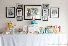 Retro birthday party dessert table. #dessert #birthday #party