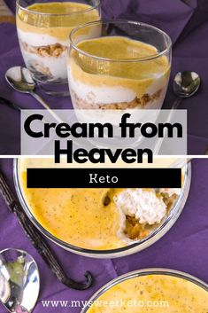 Cream from Heaven – My Sweet Keto Natas do Ceu is Portuguese for Cream from Heaven. It's one of the country's most traditional desserts. This is a recipe for KETO version. Keto Friendly Desserts, Low Carb Desserts, Low Carb Recipes, Cheesecake Recipes, Dessert Recipes, Snack Recipes, Keto Pudding, Keto Snacks, Keto Foods