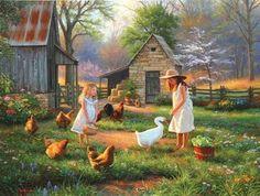 """Evening at Grandmas House"" Artwork of Mark Keathley (Artecy Cross Stitch) Arte Country, Country Life, Farm Art, Country Scenes, Thomas Kinkade, Down On The Farm, Western Art, Beautiful Paintings, Oeuvre D'art"