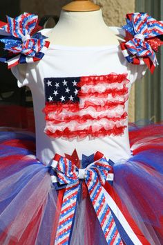 4th of July American Flag tutu outfit with bows