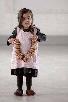 Girls clothes Linen pinafore apron Kids retro apron by MarumaKids