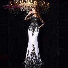 Elegant Evening Dress, Black and White Evening Dresses, Appliques Satin Evening Dresses Long Evening on Storenvy Prom Dresses Long With Sleeves, Chiffon Dress Long, Mermaid Prom Dresses, Sexy Dresses, Beautiful Dresses, Formal Dresses, Prom Gowns, Formal Prom, Lace Chiffon