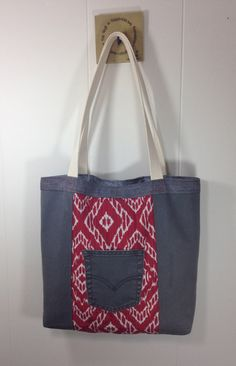 Upcycled Denim  & Upholstery Fabric Tote Bag - Red by SavedbyKate on Etsy