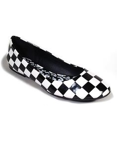 I own these! Take a look at this Black & White Checkerboard Halo Ballet Flat on zulily today!