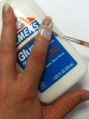 Before you paint your nails put glue and let it dry so it won't get on skin. Peel off and your done