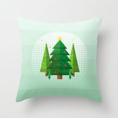 Geometric Christmas Trees Throw Pillow