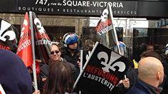 Un groupe de manifestants dénonçant les politiques d'austérité du gouvernement du Québec ont bloqué durant quelques minutes, dès 6 h, l'accès au chantier de construction du CHUM au centre-ville - Montréal