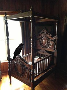 A crow on the cradle, an old legend from the North.