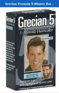 Grecian Formula 5-Minute Hair Color, Medium Brown. Grecian Formula 5-Minute Hair Color -- Real Black Grecian 5 with citrus extracts turns gray hairs into subtle, natural looking highlights. Gray is gone and your hair looks natural and healthy. It's for beards and mustaches, too. It shampoos away gray in 5 easy minutes. Plus, the thick, rich formula won't drip, is made with natural ingredients and lasts up to 6 weeks. A facial hairbrush is included. If you're not sure which shade matches…