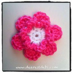 Crochet Flowers For Beginners   Simple Crochet Flower - Dearest Debi Patterns