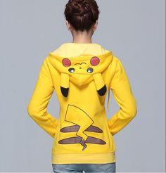 Pikachu Hoodie w / orejas Zip sudadera Unisex frente por RnMoMo, $39.99