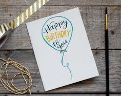 Happy Birthday Card Pink Balloon Birthday by ShelbyNickelDesigns