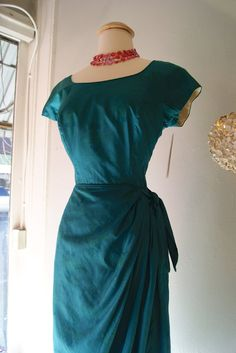 50s Dress  // Vintage 1950's Silk Emerald Green by xtabayvintage, $ 298.00