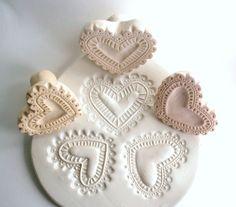Herz-Stempel für Clay Lacy Folk Herz Biskuit Stempel von GiselleNo5