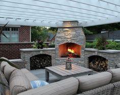 Comfortable Corner Outdoor Patio with Custom Fireplace Ideas ...