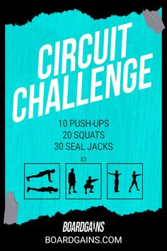 Spice up your workout routine with this circuit challenge. Get your cardio in while doing fun and effective exercises! Fit Board Workouts, Fitness Workouts, Fun Workouts, Fitness Games For Kids, Exercise For Kids, Gym Routine For Beginners, Hiit, Cardio, Bootcamp Ideas