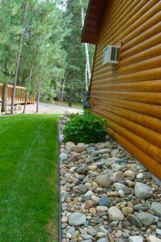 river rock along drip line of house - Google Search