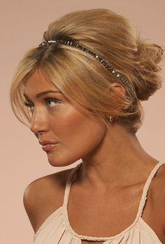 A do-it-yourself and an elegant wedding updo for medium hair lengths. Add a rhinestone head piece for fairytale looks or a floral headband for beach weddings. http://www.hairperfecter.com/wedding-hair-tips/