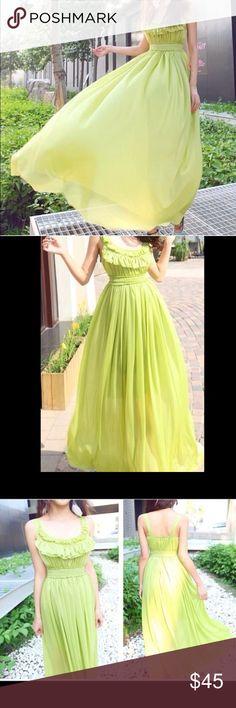 Lime Green Chiffon Spring dress Beautiful layered, lined chiffon dress with ruffle too beautiful dress Dresses Maxi