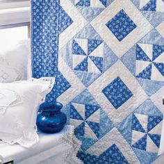 Blue Breeze: Fast Two-Color Lap Quilt Pattern.