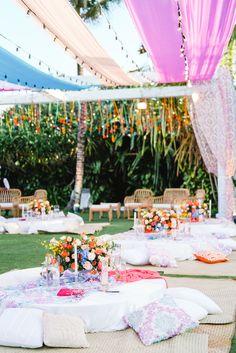 This Bali Wedding had a Whimsical Picnic-themed Sangeet & We're SOLD! Bali Wedding, Wedding Art, Forest Wedding, Woodland Wedding, Wedding Reception, Wedding Stuff, Mehendi Decor Ideas, Mehndi Decor, Picnic Theme