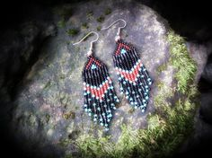 Short Beaded Dangle Earring / Native Nights by PersephonesPlace, $15.00
