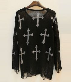 Suéter Destroyed Cross - Preto