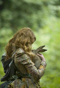 love, girl with bunny
