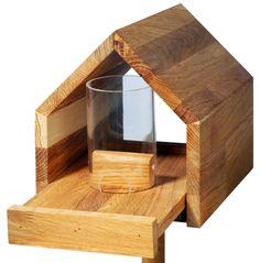 Eichenholz-Vogelfutterhaus mit Satteldach, Futtertablett, Silo, inkl. Ständer